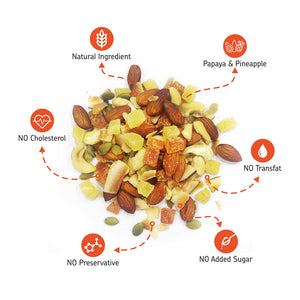 EAT Anytime Combo Pack of Cranberry, Orange Dry Fruit Trail Mix & Papaya, Pineapple Dried Fruit Trail Mix, 400g (2 x 200g)