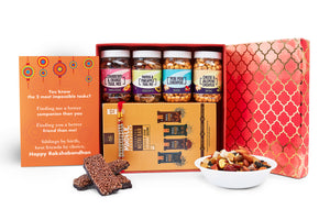 Healthy Rakhi Gift Hamper- Red Box including Rakhi