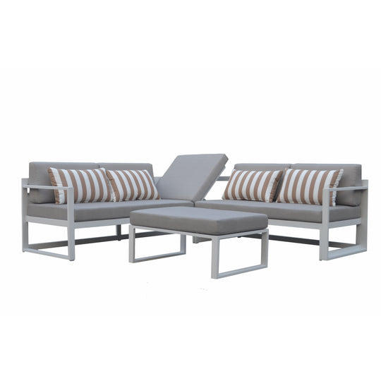 Outdoor Adler Corner Lounge and Table - White / Grey Foldup