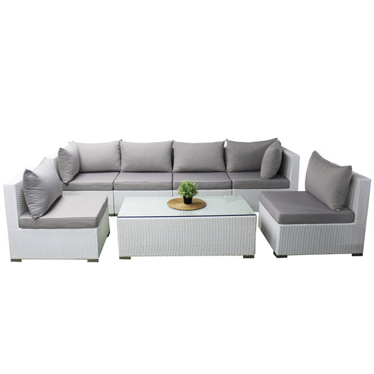 Large Outdoor Lounge Suite & Coffee Table - Rattan Wicker Furniture White