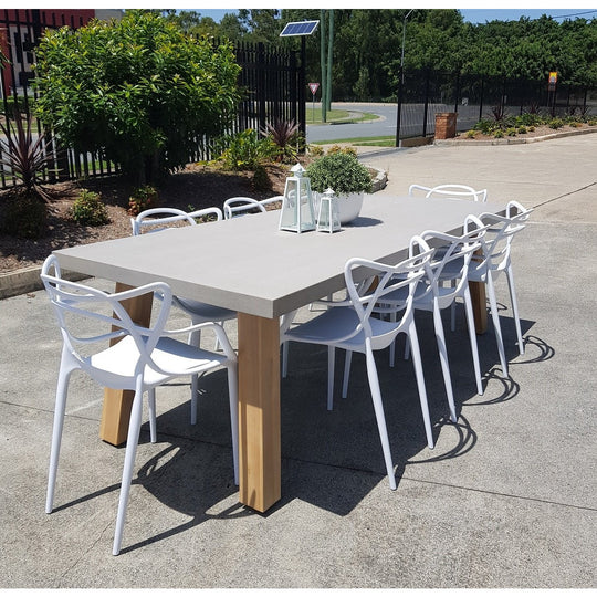 Euro Italia Concrete Dining Set - 240cm + 8 x Masters Chairs (Black, White, Grey)