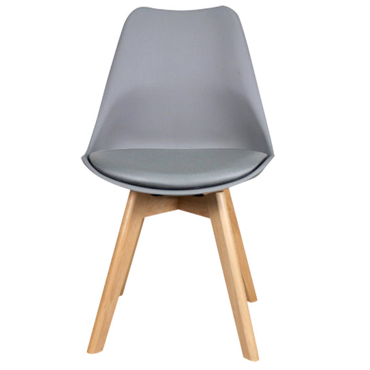 Replica Eames Style Oslo Roxy Padded dining chair - Grey/Natural