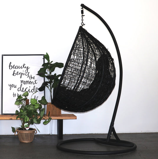 Designerhanging Egg Chair Black Buy Hanging Egg Chairs Hanging Chairs Furniture Fetish Gold Coast Outdoor Funiture