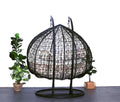 XL Hanging Egg Chair Black Cream Back