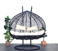 XL Hanging Egg Chair Black Cream Front