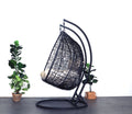 XL Hanging Egg Chair Black Cream Side