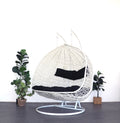 XL Hanging Egg Chair White and Black Side