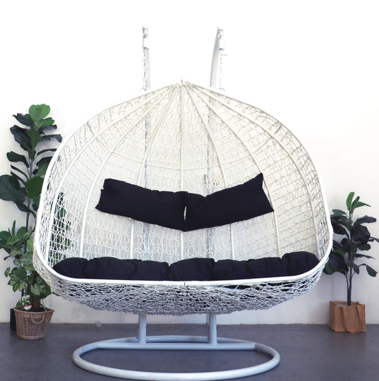 XL Hanging Egg Chair White and Black Front