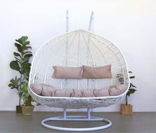 XL Hanging Egg Chair White and Cream