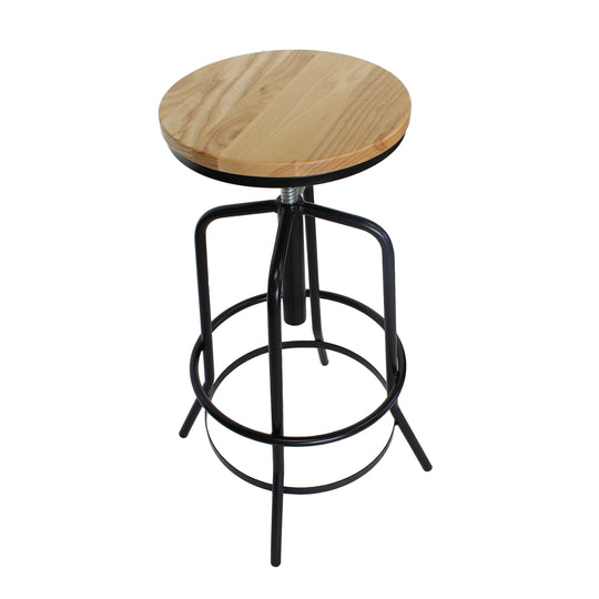 Replica Retro Adjustable Stool - Black/Wood top