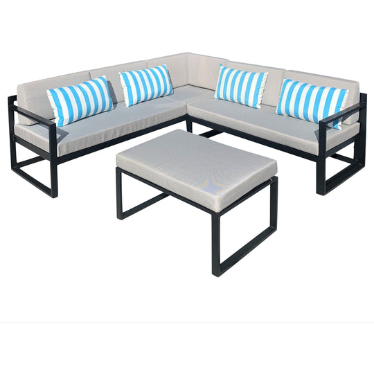 Adler Outdoor Corner Lounge & Table - Black / Grey