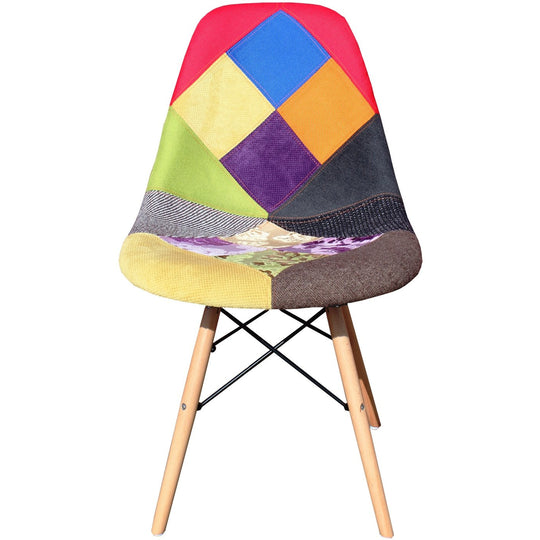 DSW Eames Chair Replica - Bright Patchwork Chair Timber