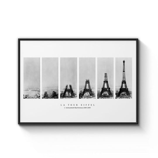 Eiffel Tower Construction Print Framed - B1 Size