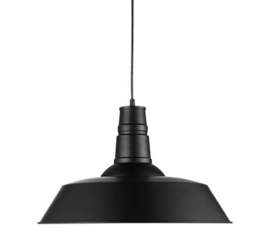 Replica Industrial Funnel Pendant Lamp - Black Powder Coated Steel Close Up