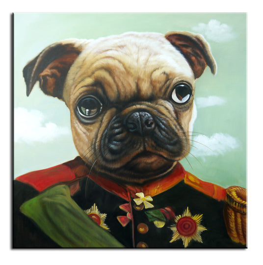 General Pug Oil Canvas