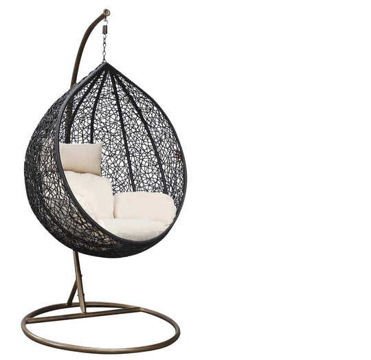 Single Hanging Egg Chair - Rattan Wicker Outdoor Furniture Cream