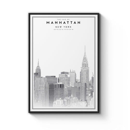 Manhattan Print Framed - B1 Size