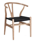 Hans Wegner Wishbone Chair Natural Black Cord Side