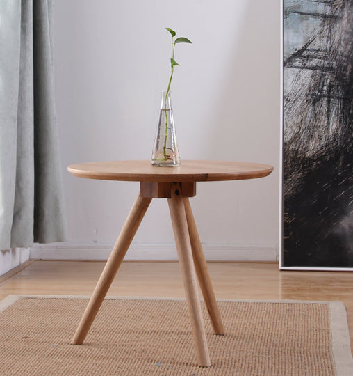 Solid Oak Side Table Closeup