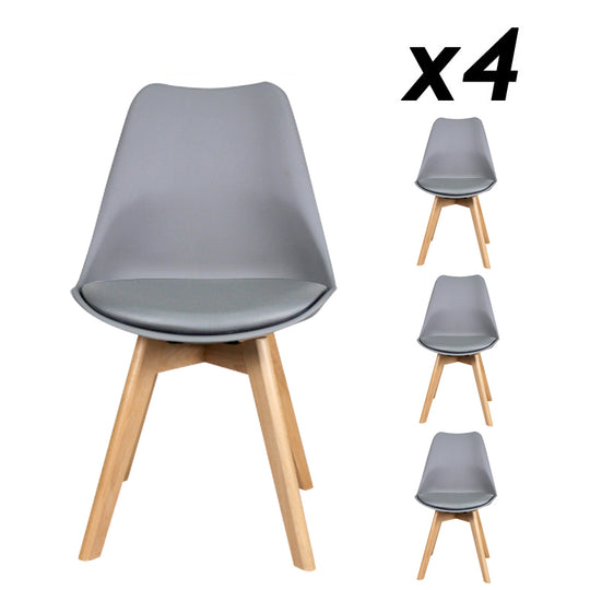 Oslo roxy padded dining chair package grey