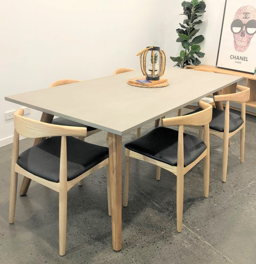 Power Concrete Dining Table and 6 x Elbow Chairs