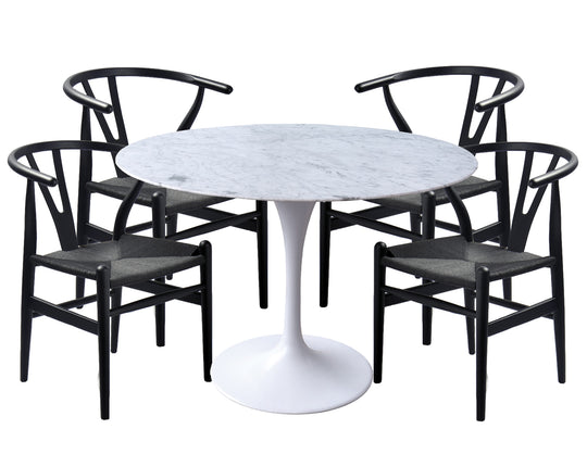 Tulip Dining Table and Wishbone All Black Chair Package