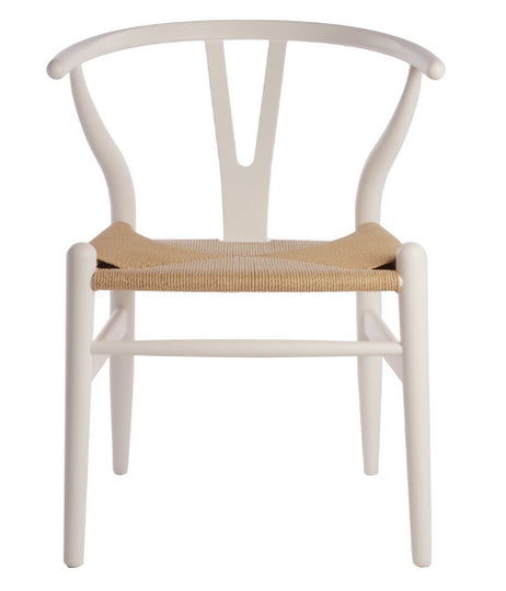 Hans Wegner Wishbone Chair Replica - White Natural Cord