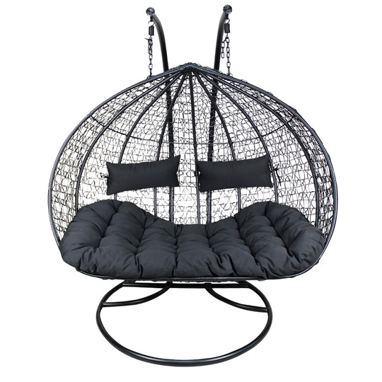 XL Double And a Half Hanging Egg Chair - Rattan Wicker Outdoor Furniture Black