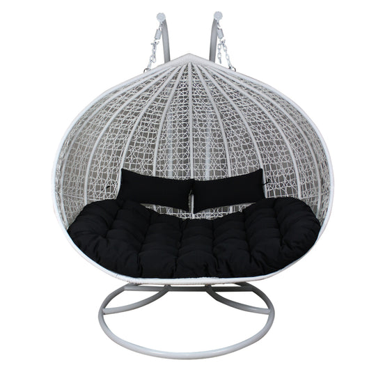 XL Hanging Egg Chair - Rattan Wicker Outdoor Furniture White/Black