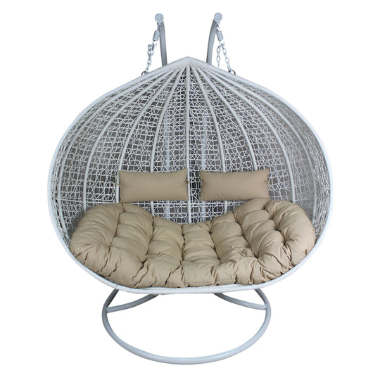 XL Hanging Egg Chair - Rattan Wicker Outdoor Furniture White