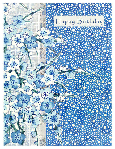 Birthday -- Blue Chiyogami Cherry Blossoms