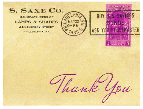Thank You -- Phila Saxe Lamps Thanks