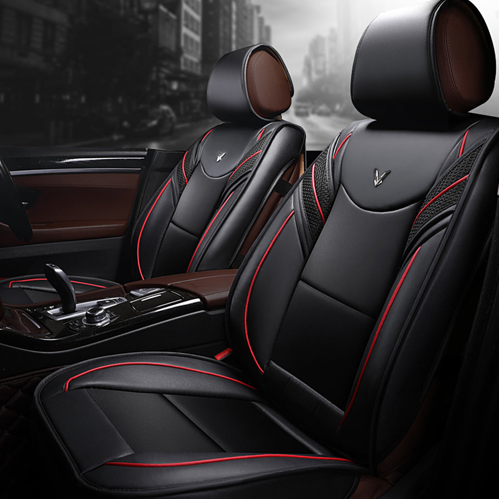 5 Seat Black Red Front Rear Leather Car Seat Cover Wowaland