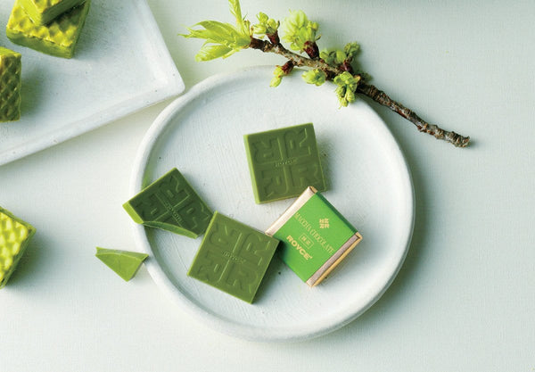 Matcha Chocolate plain white chocolate squares infused with green tea
