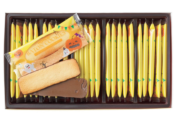 ROYCE' Halloween Baton Cookies, 12 pieces of chocolate-coated coconut cookies wrapped with brightly colored packaging.