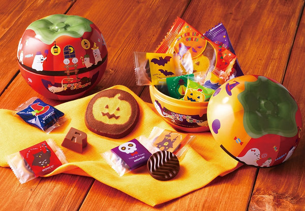 13 pieces of seasonal Japanese chocolates and confections in a sturdy tin can with Halloween motifs.