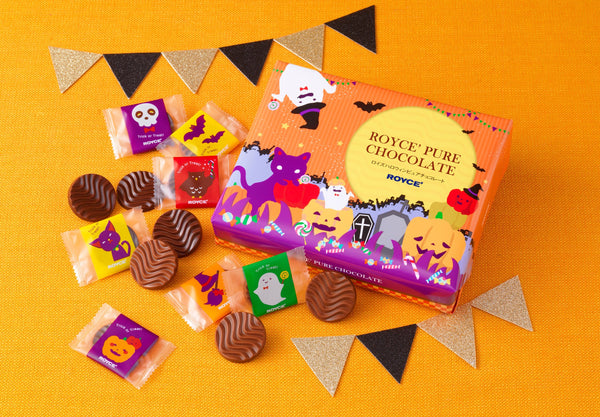 Halloween Pure Chocolate two kinds of milk chocolate discs with Halloween-themed packaging