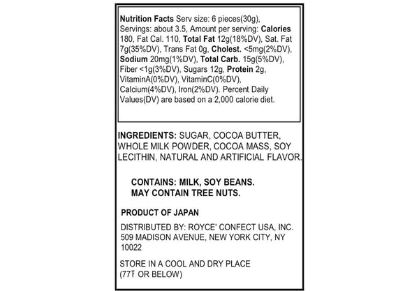 "Pure Chocolate ""Milk"" nutrition facts"