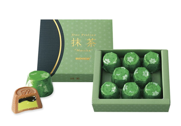 "Duo Praline ""Matcha"" packaging and contents"