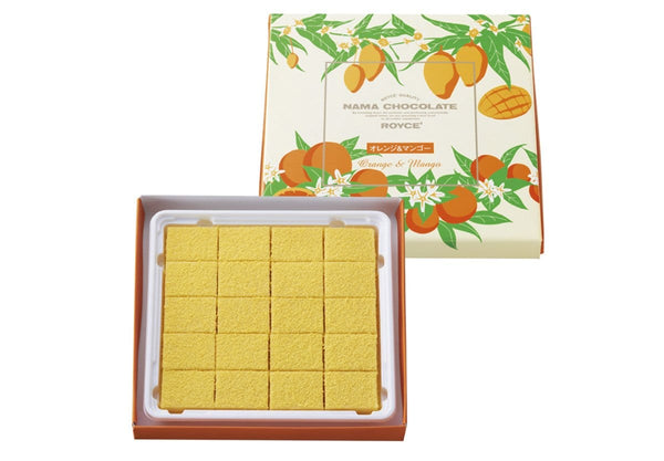 "Nama Chocolate ""Orange & Mango"" packaging and contents"