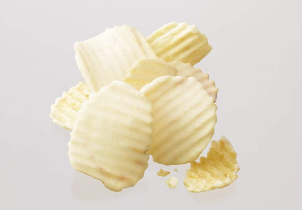 "Potatochip Chocolate ""Fromage Blanc"" potato chips coated with white chocolate infused with Fromage Blanc cheese"