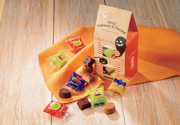 ROYCE' Halloween R Chocolat, featuring 20 pieces of individually wrapped chocolates filled with different flavored creams (Gianduja, Strawberry, Milk Cocoa, and Lemon). Chocolates come in quirky packaging with illustrations of ghosts, bats, and fiends.