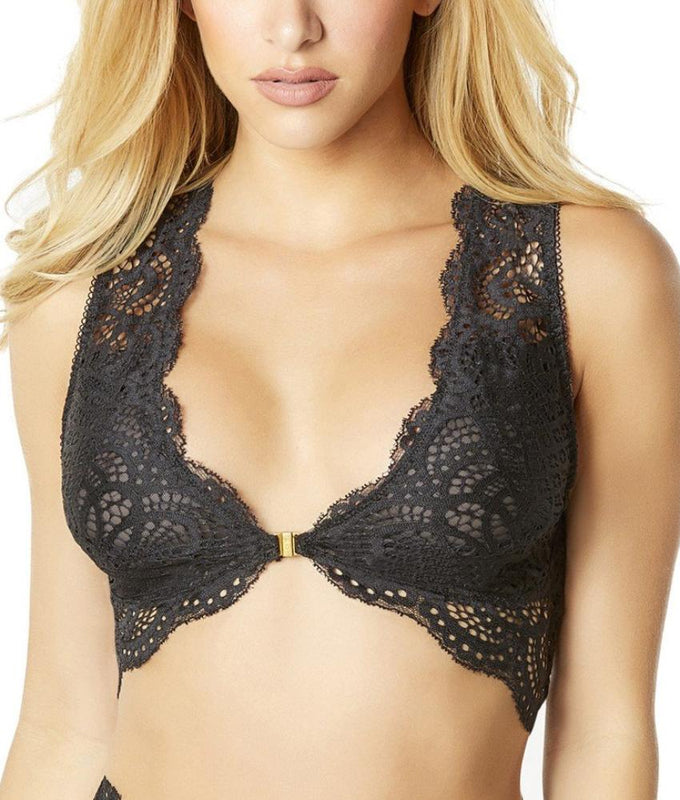 f9d7159e55 Black Oh La La Cheri Bohemian Lace Bralette With Front Closure And Back  Keyhole 10-