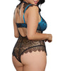 Dreamgirl Women's Plus Size Teddy with Contrast Lace Overlay 10537X image 7 - Brayola