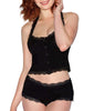 Black Dreamgirl Women's Cute Black Soft Jersey Pajama Set with Front Snaps 11071 image 2 - Brayola