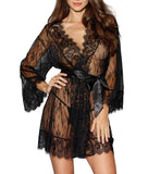 Dreamgirl Women's Romantic Black Lace Long-Sleeved Kimono Robe 11078