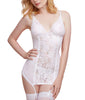 White Dreamgirl Women's Stretch Lace and Mesh Garter Slip with Peek-A-Boo Back 11290 image 2 - Brayola
