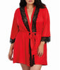 Red/Black Dreamgirl Women's Plus Size Soft Spandex Jersey Robe with Lace Inserts 11495X image 2 - Brayola