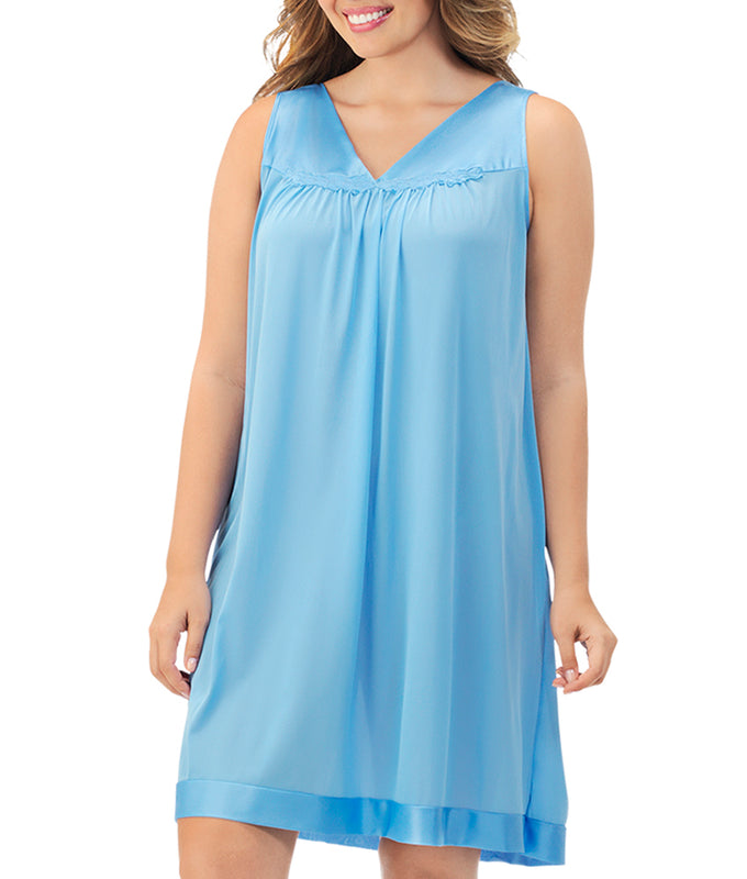 cab6925ceb ... Exquisite Form® Knee Length Sleeveless Short Nightgown Plus 30807 image  4 - Brayola ...