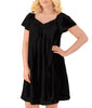 Midnight Black Exquisite Form® Knee Length Flutter Sleeve Nightgown 30109 image 2 - Brayola